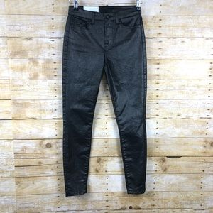 NWT 7 For All Mankind Black Waxed Skinny Jeans 24